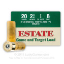"Cheap 20 Gauge Ammo For Sale - 2-3/4"" 2-1/2 Dram 7/8 oz. #8 Shot Ammunition in Stock by Estate Game and Target - 25 Rounds"