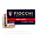 Bulk 9mm Luger Ammo For Sale - 115 Grain JHP Ammunition in Stock by Fiocchi XTP - 500 Rounds