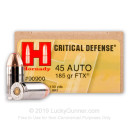 45 ACP Defense Ammo For Sale - 185 gr JHP FTX Hornady Ammunition In Stock - 20 Rounds