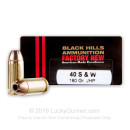 Premium 40 S&W Ammo For Sale - 180 Grain JHP Ammunition in Stock by Black Hills - 20 Rounds