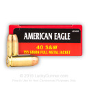 40 S&W Ammo - 155 gr FMJ - Federal American Eagle 40 cal Ammunition - 50 Rounds