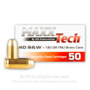 Cheap 40 S&W Ammo For Sale - 180 Grain FMJ Ammunition in Stock by MAXX Tech - 500 Rounds