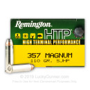 Bulk 357 Magnum Ammo For Sale - 110 gr JHP Remington HTP Ammunition In Stock - 500 Rounds