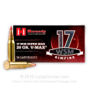 Premium 17 Win Super Mag Ammo For Sale - Hornady V-Max 20gr Polymer Tip - 50 Rounds