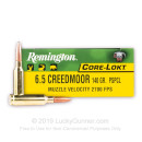 Cheap 6.5 Creedmoor Ammo For Sale - 140 Grain PSP Ammunition in Stock by Remington Core-Lokt - 20 Rounds