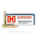 Premium 300 AAC Blackout Ammo For Sale - 190 Grain Sub-X Ammunition in Stock by Hornady Subsonic - 20 Rounds