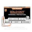 Premium 9mm Luger Speer Duty Ammo For Sale - 124 Grain JHP Speer Gold Dot Ammunition For Sale - 20 Rounds