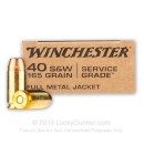 Bulk 40 S&W Ammo For Sale - 165 Grain FMJ Ammunition in Stock by Winchester Service Grade - 500 Rounds