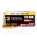 Bulk 223 Rem Sierra MatchKing Federal Premium 69 grain hollow point boat tail ammunition - 500 Rounds