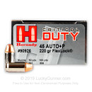 45 ACP Defense Ammo For Sale - 220 gr +P JHP FTX Flex-Tip Hornady Critical Duty Ammunition In Stock - 20 Rounds