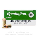 45 ACP Ammo For Sale - 230 gr JHP - Remington UMC Ammunition In Stock - 50 Rounds