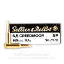 Cheap 6.5 Creedmoor Ammo For Sale - 140 Grain SP Ammunition in Stock by Sellier & Bellot - 20 Rounds