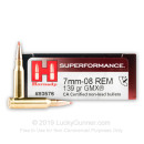 Premium 7mm-08 Remington Ammo For Sale -139 Grain GMX Ammunition in Stock by Hornady Superformance - 20 Rounds