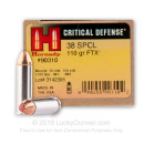 38 Special Defense Ammo For Sale - 110 gr JHP FTX Hornady Ammunition In Stock - 25 Rounds