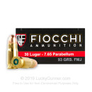 Cheap .30 Luger Ammunition - 93 gr FMJ - Fiocchi - 50 Rounds
