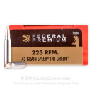 Premium 223 Rem Ammo For Sale - 43 Grain Speer TNT Green HP Ammunition in Stock by Federal V-Shok - 20 Rounds