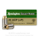45 ACP Ammo For Sale - 185 gr +P JHP Remington Golden Saber .45 Auto Ammunition In Stock
