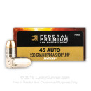 Premium Defensive 45 ACP Ammo For Sale - 230 gr Hydra Shok JHP - Federal Premium Defense Ammunition In Stock - 50 Rounds