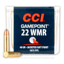 Cheap 22 WMR Ammo For Sale - 40 Grain JSP - CCI Gamepoint Ammunition In Stock - 50 Rounds