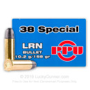 38 Special Ammo For Sale - 158 gr Lead Round Nose Ammunition by Prvi Partizan - 50 Rounds