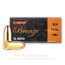 Bulk 32 Auto Ammo For Sale - 71 gr FMJ PMC Ammo Online - 1000 Rounds