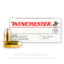 45 ACP Ammo For Sale - 230 gr FMJ Winchester USA Ammunition In Stock