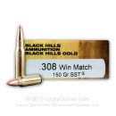 Premium 308 Win Ammo For Sale - 150 Grain SST Ammunition in Stock by Black hills Gold - 20 Rounds