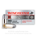 Cheap 38 S&W Ammo For Sale - 145 Grain LRN Ammunition in Stock by Winchester Super-X - 50 Rounds
