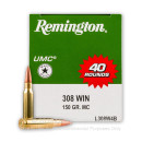 Bulk 308 Ammo by Remington For Sale - 150 gr MC  - Remington UMC Ammo Online - 400 Rounds