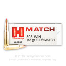 Premium 308 Ammo For Sale - 155 Grain ELD Match Ammunition in Stock by Hornady Match - 20 Rounds