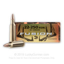 Premium 22-250 Rem Ammo For Sale - 55 Grain Soft Point Ammunition in Stock by Federal Fusion - 20 Rounds