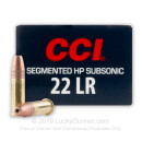 Bulk Cheap .22 Long Rifle Ammo For Sale – 40 Grain Copper Plated Segmented Hollow Point Subsonic Ammunition in Stock by CCI Quik-Shok - 500 Rounds