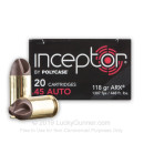 Premium 45 ACP Ammo For Sale - 118 Grain ARX Ammunition in Stock by Polycase Inceptor - 20 Rounds