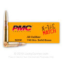Match 50 Cal BMG PMC Ammo For Sale - 740 Grain Solid Brass Ammunition in Stock