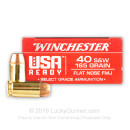 Premium 40 S&W Ammo For Sale - 165 Grain FMJ FN Ammunition in Stock by Winchester USA Ready - 50 Rounds