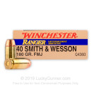 Cheap Defensive 40 SW Ammo For Sale - 180 gr FMJ - Winchester Ranger Ammunition In Stock - 50 Rounds