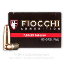 Premium 7.62 Tokarev Ammo For Sale - 85 Grain FMJ Ammunition in Stock by Fiocchi - 50 Rounds