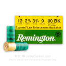 "Premium 12 Gauge Ammo For Sale – 2-3/4"" 3-3/4 Dram 00 Buckshot Ammunition in Stock by Remington - 25 Rounds"