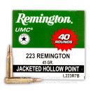 Cheap 223 Rem Ammo For Sale - 45 Grain JHP Ammunition in Stock by Remington UMC - 40 Rounds