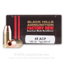 Premium 45 ACP Ammo For Sale - +P 185 Grain SCHP Ammunition in Stock by Black Hills Ammunition - 20 Rounds