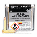Cheap 22 WMR Ammo For Sale - 50 Grain JHP Ammunition in Stock by Federal Game-Shok - 50 Rounds