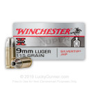 Premium 9mm Luger Ammo For Sale - 115 Grain JHP Ammunition in Stock by Winchester Silvertip - 50 Rounds