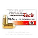 Cheap 45 ACP Ammo For Sale - 230 Grain FMJ Ammunition in Stock by MAXX Tech - 50 Rounds