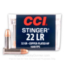 Premium 22 LR Ammo For Sale - 32 Grain CPHP Ammunition in Stock by CCI Stinger - 500 Rounds