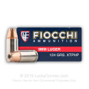 Premium Fiocchi 9mm Defense Ammo For Sale - 124 gr JHP XTP Fiocchi Ammunition - 25 Rounds