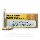 Premium 308 Win Ammo For Sale - 150 Grain Hornady GMX Polymer Tip Ammunition in Stock by Black Hills Gold Match - 20 Rounds