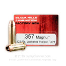 Cheap 357 Mag Ammo For Sale - 125 Grain JHP Ammunition in Stock by Black Hills Ammunition - 50 Rounds