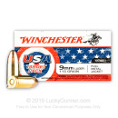Bulk 9mm Ammo For Sale - 115 Grain FMJ Ammunition in Stock by Winchester USA Target Pack - 50 Rounds
