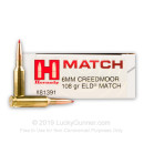 Premium 6mm Creedmoor Ammo For Sale - 108 Grain ELD Match Ammunition in Stock by Hornady Match - 20 Rounds