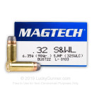 32 S&W Long Ammo For Sale - 98 gr SJHP Magtech 32 S&W Long Ammunition For Sale - 50 Rounds